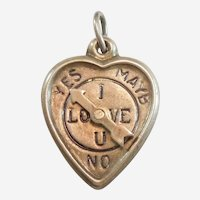 1940's 'I Love You' and 'Yes No Maybe' Spinner Sterling Silver Puffy Heart Charm