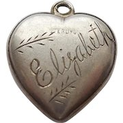 Engraved 'Elizabeth' - Sterling Silver Puffy Heart Charm - Simple Etched Design