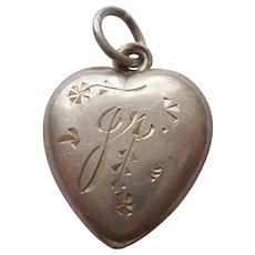Sterling Silver Puffy Heart Charm with Etched Flowers -  Engraved 'Jr.'