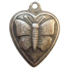 Sterling Silver Puffy Heart Charm - Old-fashioned Repousse Butterfly 'Jewel'