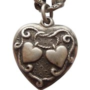 'Lasso My Heart' Sterling Silver Walter Lampl Puffy Heart Charm