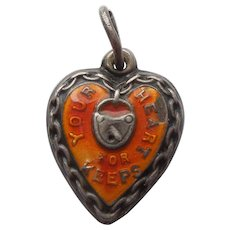 Engraved 'Ann' - Sterling Silver and Orange Enamel Puffy Heart Charm 'Your Heart For Keeps'