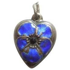 Sterling Silver Puffy Heart Charm - Cobalt Blue Enamel Pansy Flower