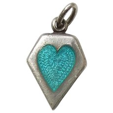 Sterling Silver Memory Heart Charm -  Aqua / Turquoise Blue Enamel