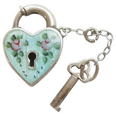 Engraved 'Mom' - Walter Lampl Sterling Silver and Aqua Blue Guilloche Enamel Puffy Heart Charm Padlock with Key