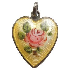 Yellow Guilloche Enamel and Sterling Silver Heart Charm - Pink Rose / Flower / Floral