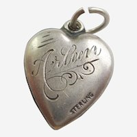 Engraved 'Arleen' - Sterling Silver Puffy Heart Charm