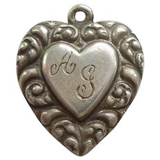 Engraved 'AG' - Sterling Silver Double-sided Puffy Heart Charm - Repousse Paisley Curls Border