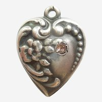 Engraved 'Vicky' - Sterling Silver Puffy Heart Charm - Floral Repousse with Pink Stone