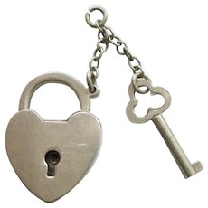 Engraved 'Mother' - Large Walter Lampl Sterling Silver Puffy Heart Padlock Lock and Key (needed to open)