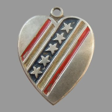 Patriotic Sweetheart Sterling Silver Heart Charm - Stars and Stripes Red White Blue Enamel