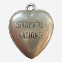 'Congratulations' Valentine Candy Word Sterling Silver Puffy Heart Charm