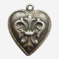 Engraved 'Gene' - Repousse Fleur-de-Lis Sterling Silver Puffy Heart Charm