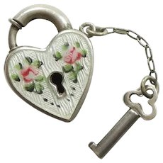 Engraved 'Dad' - Walter Lampl Sterling Silver and Enamel Puffy Heart Padlock Lock and Key Charm - Roses