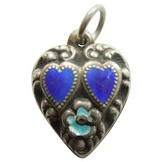 Engraved 'Eleanor' - Sterling Silver and Enamel Puffy Heart Charm - Repousse Two Hearts and Flower