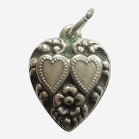 Engraved 'Pat' - Sterling Silver Puffy Heart Charm - Repousse Two Hearts and Flower