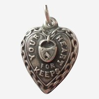 Engraved 'Gerry' - Sterling Silver 'Your Heart For Keeps' Puffy Heart Charm - Chain & Padlock