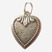 Engraved 'Daddy' - Repousse Puffy Heart with Finely Beaded Border - Sterling Silver Charm
