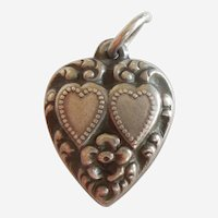 Engraved 'Gilly' - Sterling Silver Puffy Heart Charm - Repousse Two Hearts and Flower