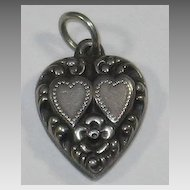 Sterling Silver Repousse Puffy Heart Charm ~ Double Hearts ~ Engraved 'Gilly'