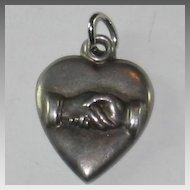 Sterling Silver Puffy Heart Charm - Repousse Older Style Friendship Handshake - Engraved 'M.L.'