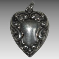Engraved 'Mildred' - Voluptuous Large Victorian Sterling Silver Repousse Puffy Heart Charm