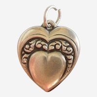 Repousse Heart-in-Heart Sterling Silver Puffy Heart Charm