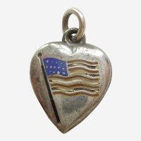 Engraved 'M' - Enamel American Flag Sterling Silver Puffy Heart Charm