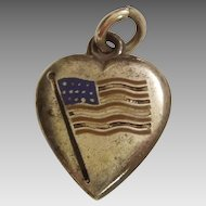 Sterling Silver Puffy Heart Charm - Enamel American Flag - Engraved 'M'