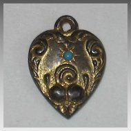 Small Victorian Sterling Silver Puffy Heart Charm ~ Gold -Washed with Tiny Turquoise Stone