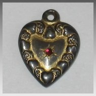 Victorian Sterling Silver Puffy Heart Charm ~ Gold -Washed with Pink/Red Stone