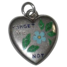"Victorian Sterling Silver Puffy Heart Charm Enamel ""Forget Me Not"" - Engraved 'C.O.'"