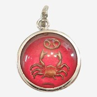 Vintage CANCER the CRAB Zodiac Intaglio Bubble Charm - Double-sided 'Domesticity'