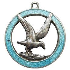 TLM Thomas L Mott Seagull Bird Charm in Sterling Silver and Light Blue Enamel