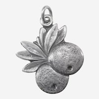 Pair of Oranges with Leaves - Sterling Silver Souvenir Citrus Fruit Charm - Florida, California