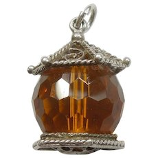 Vintage Chunky English Crystal Glass Gem-set Lantern Charm - Topaz Color