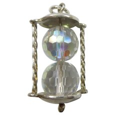 Vintage Chunky English Crystal Glass Gem-set Hourglass / Kissing Timer Charm - Clear Crystals with Light Aurora Borealis