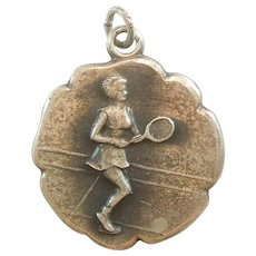 Sterling Silver Lady Tennis Player Charm Medal by JMF - Racket Sports