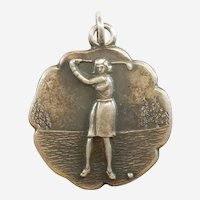 Sterling Silver Lady Golfer Charm Medal by JMF - Golf, Sports