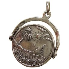 Florida 'Wish You Were Here' Sterling Silver Spinner Charm - Sailboat / Palm Tree Sunshine State