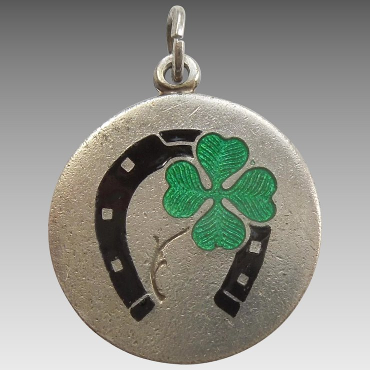 Good Luck Four Leaf Clover And Horseshoe Vintage Lucky Charm