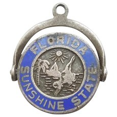 Sterling Silver Florida Sunshine State Blue Enamel Spinner Charm - Sailboat and Palm Tree - Fort Sterling