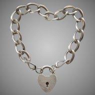 Sterling Silver 1940s Puffy Heart Padlock Clasp and Bracelet - Star B Hallmark - B.A. Ballou