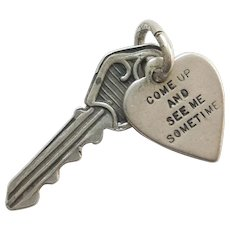 Vintage Sterling Silver 'Come Up and See Me Sometime' Key with Heart Tag Charm
