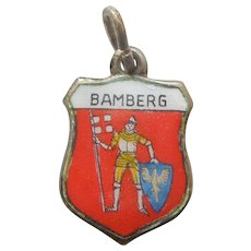 Coat of Arms for Bamberg Germany Vintage Enamel and 830 Silver Souvenir Travel Shield Charm - Saint George