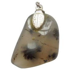 Moss Agate Stone Drop Charm or Pendant