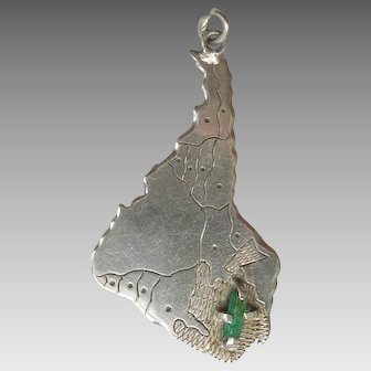 South America Continent COLUMBIA Souvenir Travel Map Charm / Pendant - 900 Silver with Emerald Green-colored Stone