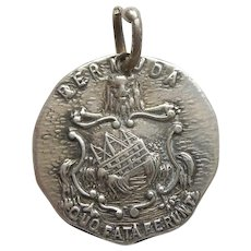 Bermuda 'Quo Fata Ferunt' (whither the Fates carry) Sterling Silver Travel Charm - Shipwreck