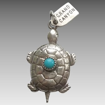 Grand Canyon 3D Turtle Sterling Silver Charm with Turquoise-colored Stone