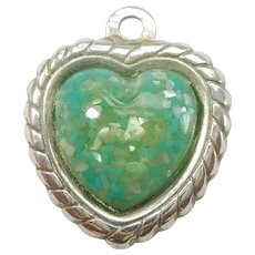 Sterling Silver with Green 'Confetti' Inset Heart Charm